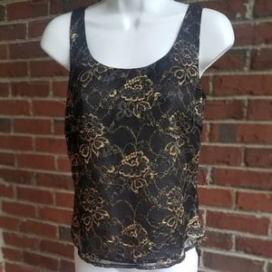 Lauren Ralph Lauren black/gold floral lace top/2